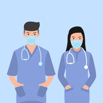 文字聴診器で男性と女性の医師