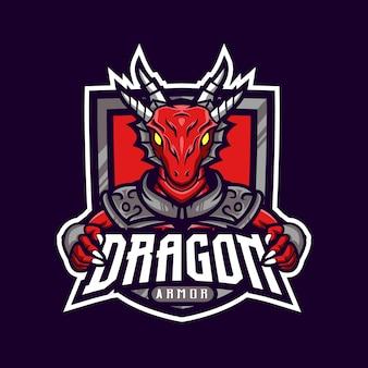 赤いドラゴンマスコットロゴゲーム装甲