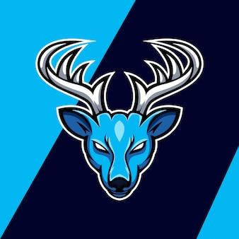 青い氷鹿マスコットロゴデザイン