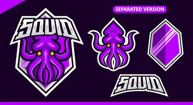 分離された紫イカマスコットロゴ