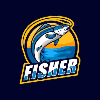 魚のマスコットのロゴデザイン