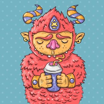 Мультяшный монстр пьет из чашки. мультфильм иллюстрация в стиле комиксов модных.