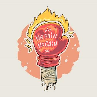Перчатка для бокса с надписью и огнем. мультфильм иллюстрация в стиле комиксов модных.