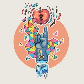 Рука тянется к яблоку. мультфильм иллюстрация в стиле комиксов модных.