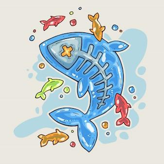 漫画のゼリー魚。コミックトレンディなスタイルの漫画イラスト。
