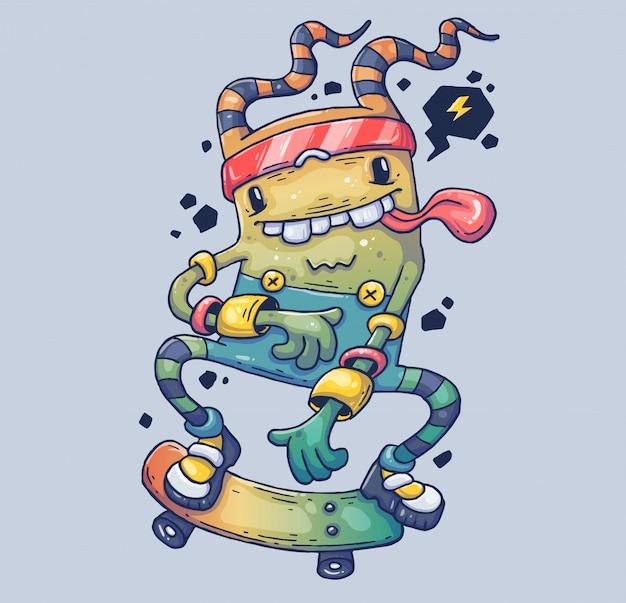 Веселый монстр на скейтборде. иллюстрации шаржа персонаж в современном графическом стиле.