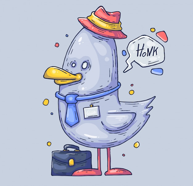 Забавный менеджер чайки. птица в шляпе. иллюстрации шаржа персонаж в современном графическом стиле.