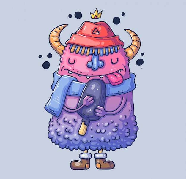 Забавный монстр в шляпе с рогами. монстр с мороженым. иллюстрации шаржа персонаж в современном графическом стиле.