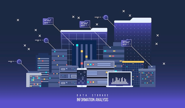 サーバーデータセンター、フラットの図。インターネットネットワーク技術とストレージのための情報クラウド