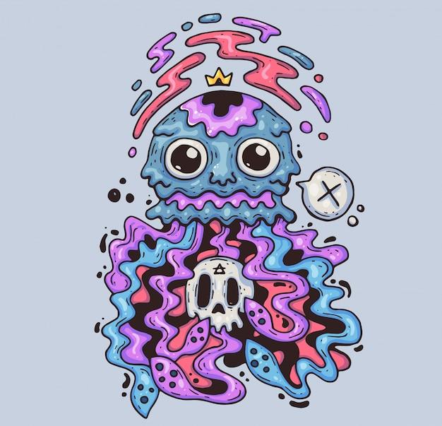 頭蓋骨と狂気のクラゲ。漫画イラスト。モダンなグラフィックスタイルのキャラクター。