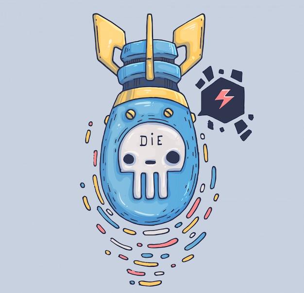 Опасная воздушная бомба. иллюстрации шаржа персонаж в современном графическом стиле. модный стиль.