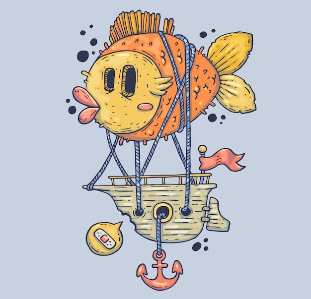 巨大な魚と海の船。漫画イラスト。モダンなグラフィックスタイルのキャラクター。