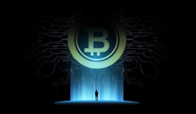 ビットコインの図の概念。未来のデジタルマネー、技術世界的なネットワークコンセプト。小さな男は巨大な未来的なホログラムを見ています。