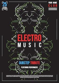 サイバーパンクの未来的なポスター。レトロな未来的なポスターテンプレート。電子音楽のレイアウト。現代のクラブパーティーのフライヤー。