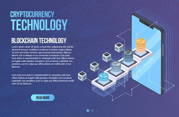 Блокчейн сетевой бизнес шаблон. криптовалюта и изометрическая композиция блокчейна. горные абстрактные технологии. система цифровых денег. макет для сети и приложения.