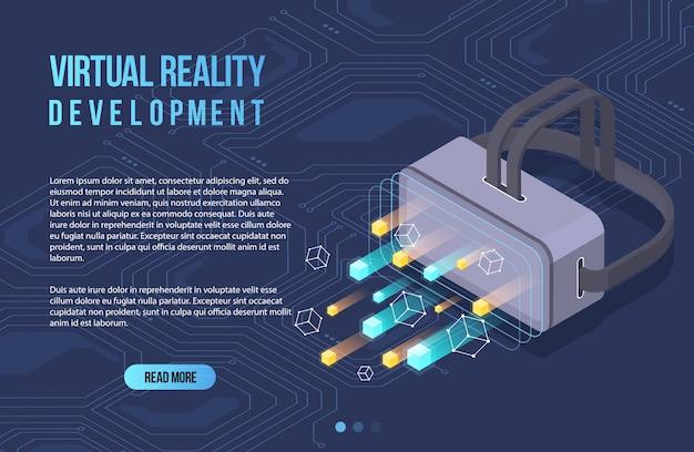 Дополненная реальность концепция изометрические баннер. плоский дизайн шаблона для мобильного приложения и веб-сайта. виртуальная реальность изометрии.