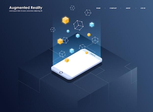 拡張現実概念等尺性バナー。モバイルアプリとウェブサイトのフラットなデザインテンプレート。仮想現実のアイソメ図。