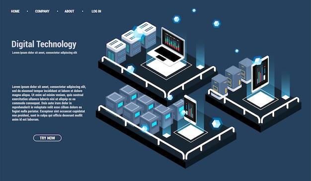 Изометрическая серверная комната и концепция обработки больших данных, значок центра обработки данных и базы данных