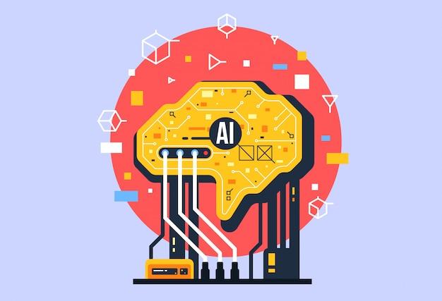 Ии, состав искусственного интеллекта, мозг с электронными нейронами.