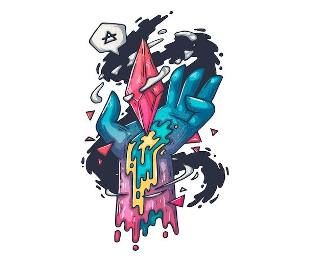 Рука с волшебным кристаллом. мультфильм иллюстрация для печати и веб
