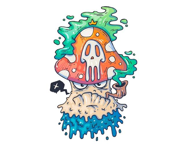 Забавный ядовитый гриб. мультфильм иллюстрация для печати и веб