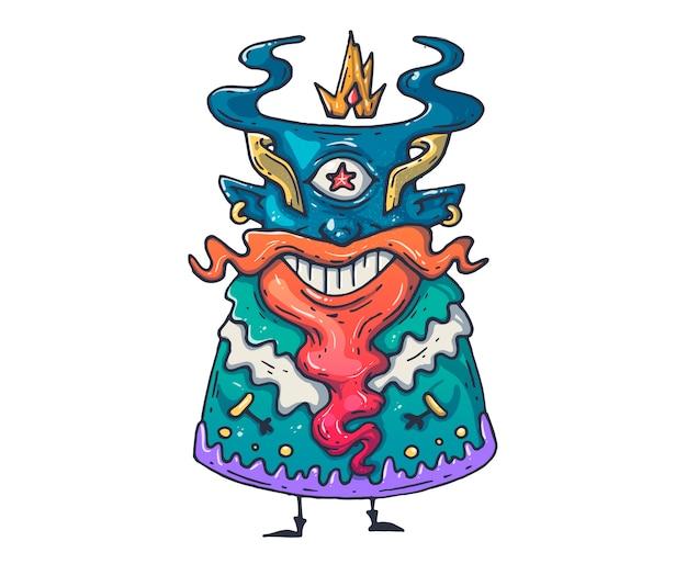 Забавный монстр мультфильм иллюстрация для печати и веб