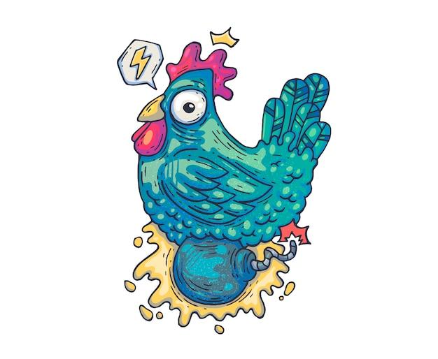 Курица сидит на бомбе. мультфильм иллюстрация для печати и веб