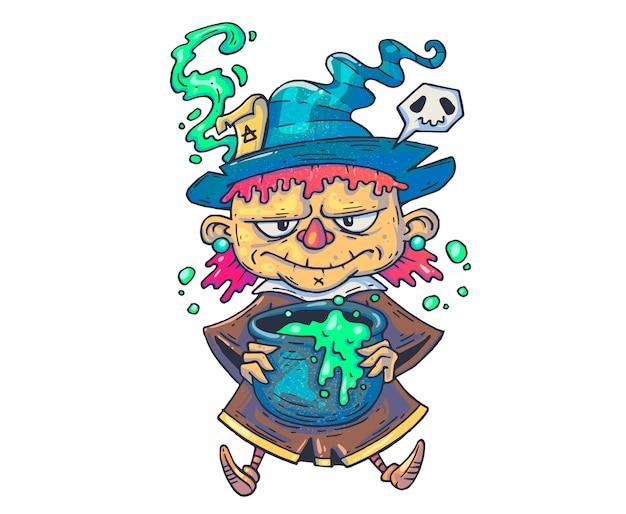 Смешная ведьма мультфильм иллюстрация для печати и веб