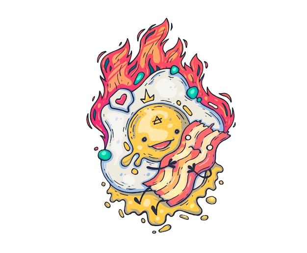 Яичница-болтунья обнимает бекон. мультфильм иллюстрация для печати и веб