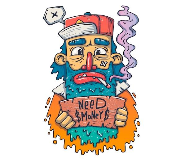 Бездомные со знаком. мультфильм иллюстрация для печати и веб