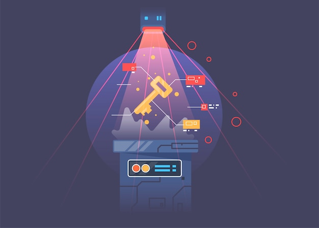 Концепция кибербезопасности или секретный ключ, абстрактный цифровой ключ с технологическим интерфейсом