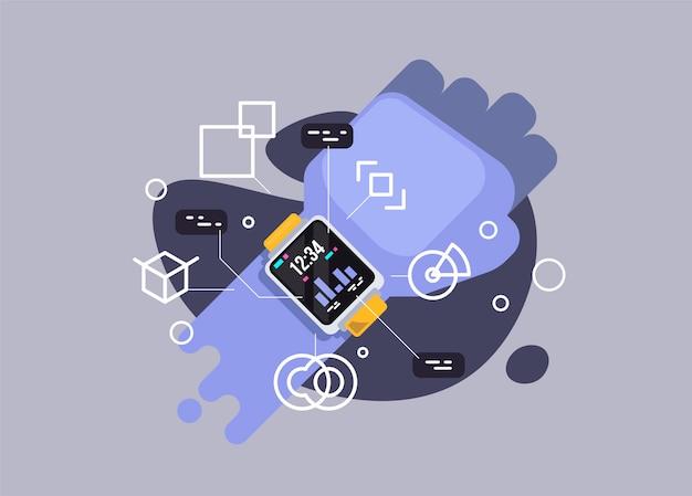 Вектор смарт-часы. векторная иллюстрация