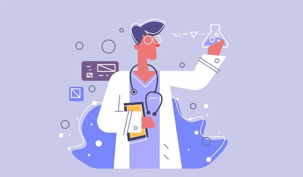 Вектор медицинский значок доктора. врач со стетоскопом. медик иллюстрация в плоском стиле.