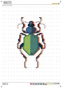 Вектор геометрическая ошибка или жук. насекомое на фоне плаката