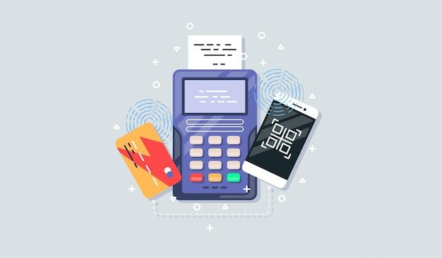フラットスタイルの携帯電話支払いアイコン。