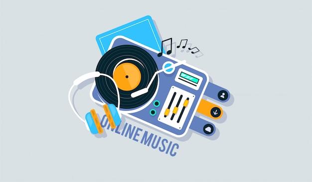 Плеер для виниловых пластинок. музыка плоский векторные иллюстрации.