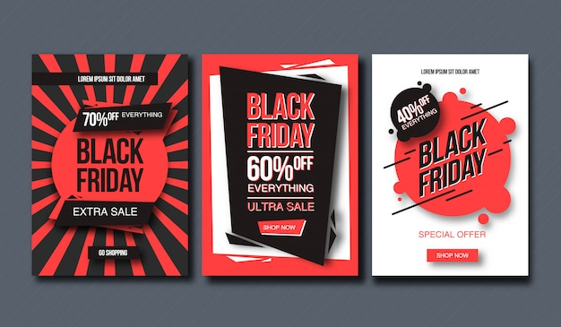 黒い金曜日販売デザインテンプレート。バナーと印刷の概念的なレイアウト。