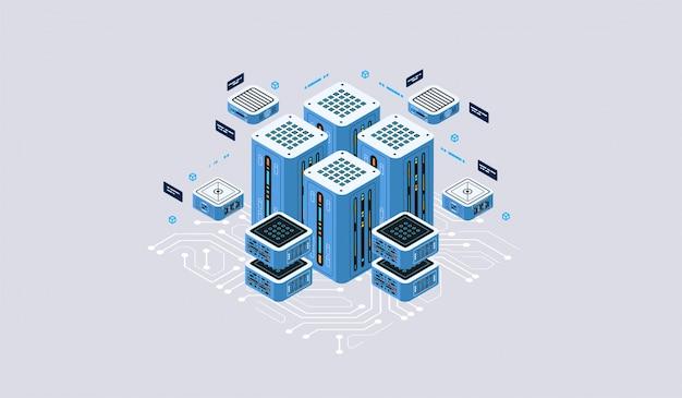 Изометрические дизайн концепции виртуальной реальности и дополненной реальности. разработка программного обеспечения и программирование. вычисление большого центра обработки данных, квантовая компьютерная изометрическая технология