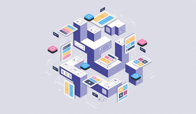 等尺性デザインコンセプトの仮想現実と拡張現実。ソフトウェア開発とプログラミング。ビッグデータセンターの計算、量子コンピューター等尺性技術