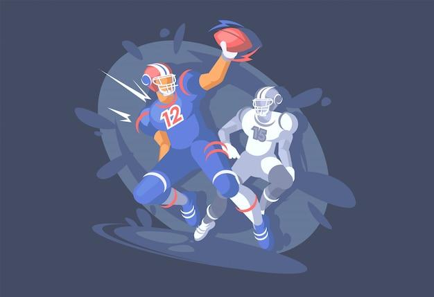 アメリカンフットボール、スポーツイベント、サッカー選手がボールをキャッチします。