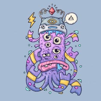 Мультиглазый мультипликационный монстр. забавное существо мультфильм векторные иллюстрации