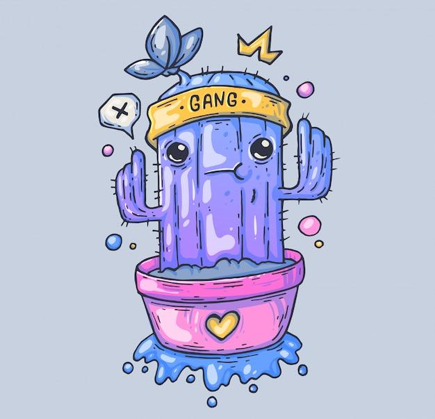 Забавный кактус в горшочке. мультфильм иллюстрация