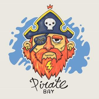 漫画の海賊の頭。