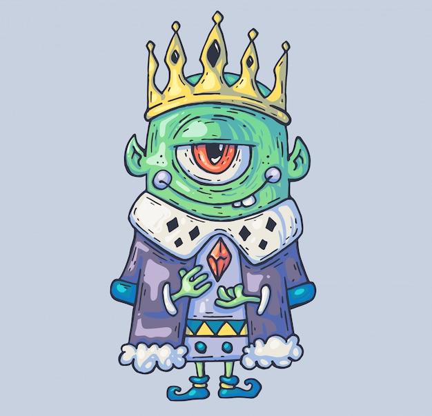 Пещерный король гномов и троллей. мультфильм иллюстрация