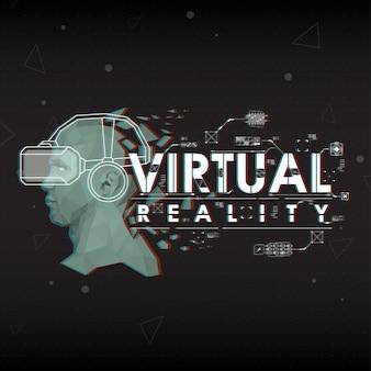Виртуальная реальность. надпись с футуристическими элементами пользовательского интерфейса.