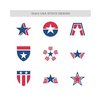 Набор выполненных в сша логотипов