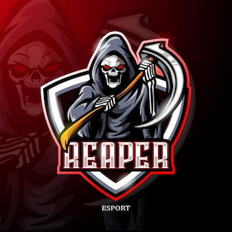 Мрачный жнец талисман киберспорт дизайн логотипа.