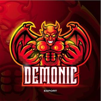 電子スポーツゲームロゴの赤い悪魔マスコットロゴ