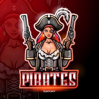 電子スポーツゲームのロゴの女性海賊マスコットロゴ