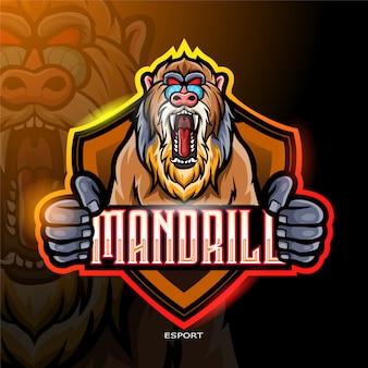 電子スポーツゲームロゴの怒っているマンドリルマスコットロゴ